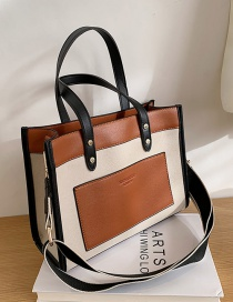Fashion Brown Canvas Stitching Contrast Color Large Capacity One-shoulder Diagonal Bag