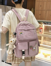 Fashion Pink Send Pendant Badge Buckle Letter Logo Backpack
