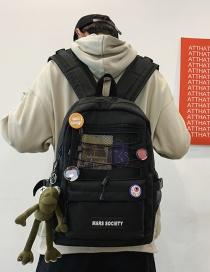 Fashion Black Send Pendant Large Capacity Letter Logo Stitching Mesh Backpack