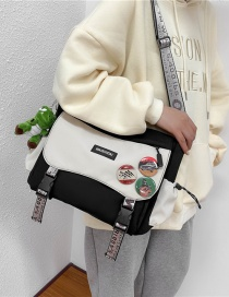 Fashion Black With White Plus Pendant Canvas Buckle Letter Logo Single Shoulder Messenger Bag