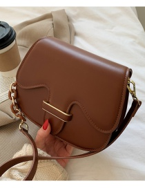 Fashion Coffee Color Solid Color Single Shoulder Crossbody Bag With Buckle Flap