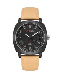 Fashion Khaki Black Surface Large Dial Belt Quartz Men S Watch