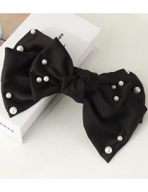 Fashion Black Diamond-studded Fabric Pearl Bow Hairpin