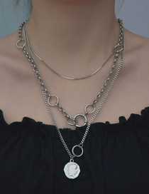 Fashion Three-tier Portrait Necklace Ring Portrait Alloy Multilayer Necklace