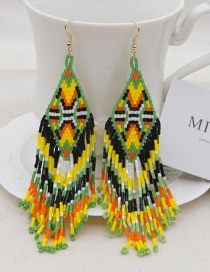 Fashion Color Mixing Rice Beads Hand-woven Beaded Tassel Earrings