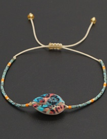 Fashion Color Mixing Glazed Rice Beads Woven Natural Shell Eyes Beaded Bracelet