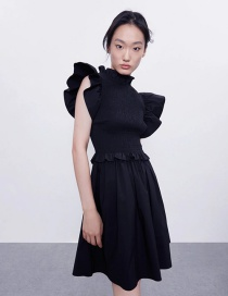 Fashion Navy Pull Elastic Small Flying Sleeve Stitching Dress