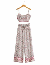 Printing Floral Print Cropped Top With Bowknot Wide-leg Pants Suit