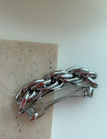 Silver Color Chain Stitching Alloy Hairpin