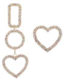 Ab Color Asymmetric Multi-layered Earrings With Geometric Diamonds