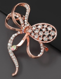 Rose Gold Alloy Diamond Bow Brooch