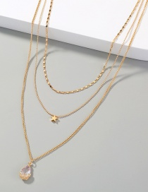 Fashion Gold Color Water Drop Micro-inlaid Zircon Five-pointed Star Multilayer Necklace