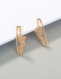 Fashion Gold Color Plum Blossom Paper Clip Alloy Hollow Earrings