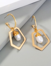 Fashion Gold Color Wrapped Pearl Geometric Earrings
