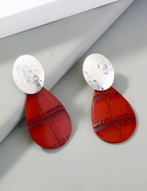 Fashion Red Leather Drop Geometric Alloy Earrings