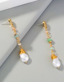 Fashion Gold Color Special-shaped Pearl Natural Stone Long Stitching Tassel Earrings