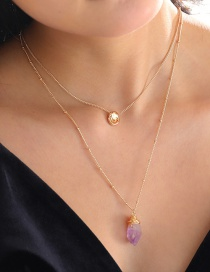 Fashion Gold Color Tag Natural Stone Pendant Geometric Alloy Multilayer Necklace