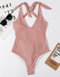 Fashion Red Striped Knotted Printed Open Back One-piece Swimsuit