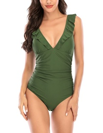 Fashion Dark Green Flashing Open Back Solid Color One-piece Swimsuit