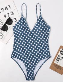 Fashion Wave Point Open Back Printed Polka Dot One-piece Swimsuit