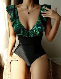 Fashion Green Printed Flashing V-neck One-piece Swimsuit