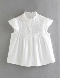 Fashion White Embroidered Wood Ear Cut-out Shirt