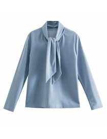 Fashion Blue Long-sleeved Solid Color Top With Tie Collar