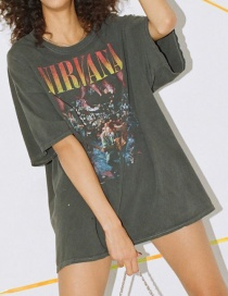 Fashion Dark Gray Crew Neck Printed Oversized Loose T-shirt