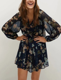Fashion Color Flower Print Puff Sleeve Two-piece Dress