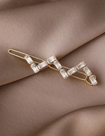 Fashion Gold Color Wave Pattern Copper Inlaid Zircon Hairpin