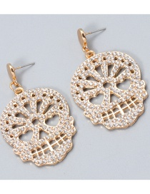Fashion White Carved Skull And Diamond Alloy Hollow Stud Earrings