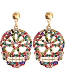 Fashion Color Carved Skull And Diamond Alloy Hollow Stud Earrings