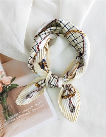 Fashion Gold Color Chain Grid Rice Pleated Silk-like Printed Small Square Scarf