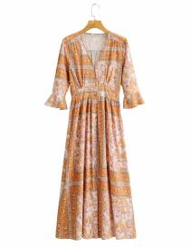 Fashion Printing V-neck Printed Flared Sleeve Loose Dress