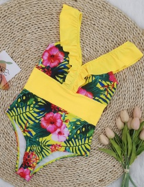 Fashion Safflower On Yellow Printed Ruffled High-waisted Striped Contrast One-piece Swimsuit