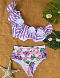 Fashion Purple Print One-shoulder Ruffled High-waist Printed Striped Split Swimsuit