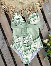 Fashion Green Leaves On White Lace-up Printed V-neck One-piece Swimsuit