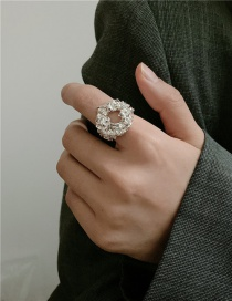 Fashion Silver Color Lava Geometry Alloy Open Ring