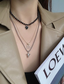 Fashion One Set (can Be Split) Multilayer Necklace With Love Digital Pendant