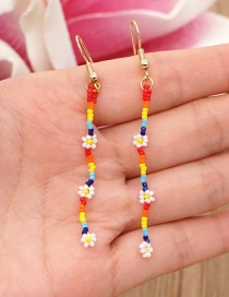 Fashion Color Mixing Rice Beads Handmade Small Daisy Flower Beaded Long Earrings