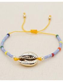 Fashion Golden Natural Freshwater Pearl Rice Beads Beaded Shell Bracelet