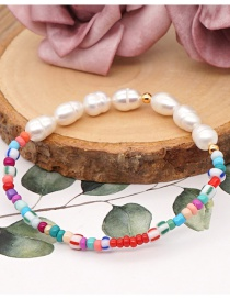 Fashion Contrast Rice Beads Natural Freshwater Pearl Beaded Contrast Bracelet