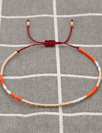 Fashion Color Mixing Rice Beads Hand-woven Beaded Contrast Bracelet
