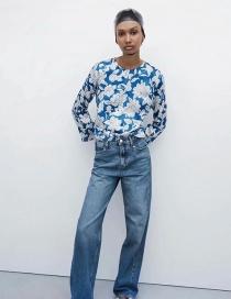 Fashion Printing Crew Neck Printed Pleated Satin Shirt