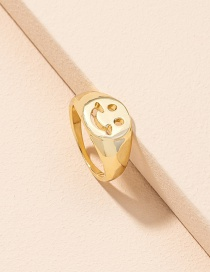 Fashion Golden Color Smiley Alloy Hollow Ring