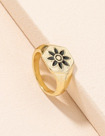 Fashion Golden Color Flower Dripping Geometric Alloy Ring