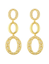 Fashion Gold Color Oval Copper Gold-plated And Zircon Earrings