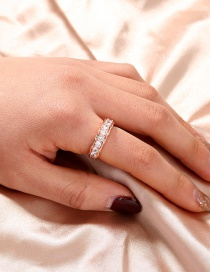 Fashion Rose Gold Color Micro-set Zircon And Gold-plated Copper Round Ring