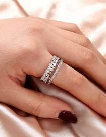 Fashion Silver Color Double Row Zircon Geometric Open Ring
