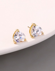 Fashion Gold Color Micro-set Zircon Love Earrings